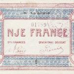 Kartëmonedhë 1 frangë emetim i vitit 1917. Foto kortezi: Banka e Shqipërisë