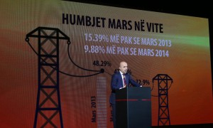 Drejtori i OSHEE Adrian Çela, duke folur gjatë një prej ceremonive për prezantimin e suksesit të fushatës së qeverisë për energjinë elektrike. Foto: LSA / GENT SHKULLAKU