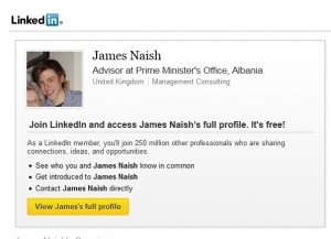 James Naish's LinkedIn print screen