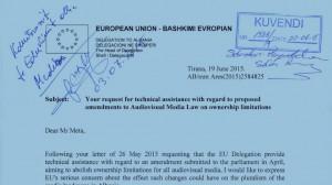 Rekomandimet e dërguara në parlament nga kreu i delegacionit të BE-së në Tiranë në lidhje me amendimin e nenit 62 | Foto nga BIRN