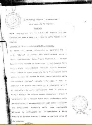 Faksimile e vendimit të arbitrazhit në çështjen Iliria S.r.l kunër Shqipërisë | Foto nga : BIRN